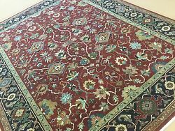 7'.11 X 10'.1 Red Navy Blue Sarape Oriental Area Rug Hand Knotted Wool