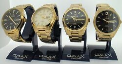 Omax Swiss Watch Gents Automatic Gold Plated See Through Back 3 Styles Uk Seller