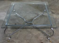 Vintage Hollywood Regency Square Glass Top Cocktail Table W/aluminum Base And Bras