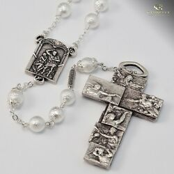Vatican Museum Creation Of Adam Silver Plated Keepsake Rosary Made In Italy