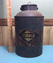 Antique Vintage Urma Unique Coffee Canister / Can