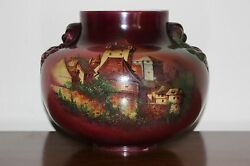 Antique Victorian Glass Gwtw Table Oil Lamp Shade Or Base Font H Painted Castle