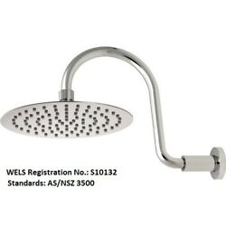 Methven Swan Neck Wall Shower Fixed Arm 200mm Round Faceplate Chrome 15-3817