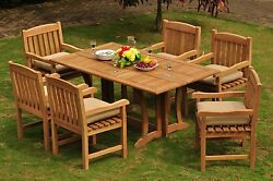 Dsdv Grade-a Teak Wood 7pc Dining 69 Rect Console Table 6 Arm Chair Set Patio
