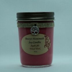8 oz. Apple Ale Hand Poured Natural Soy Wax Cotton Wick Jelly Jar Red Candle