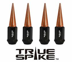 32 True Spike 89mm 14x2.0 Steel Lug Nuts W/ Rose Gold Spikes For Ford Excursion