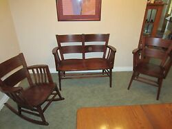 Antique Heywood Wakefield Early 1900and039s Chair Rocker And Bench Set