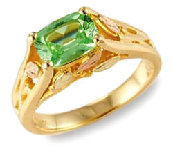 10k Black Hills Gold Ring With Green Sapphire By Mt. Rushmore Size 4 To 10
