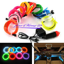 White Red Blue 5m 12v Car Charge Interior Led El Wire Rope Tupe Light Line+drive