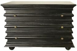 42 Long Chest Dresser 3 Drawer Solid Mahogany Wood Rubbed Black Finish Modern