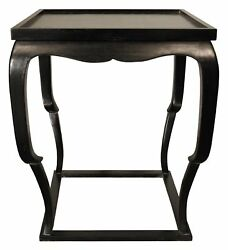 24 W Set Of Two Side End Table Solid Mahogany Wood Rubbed Black Modern Finish