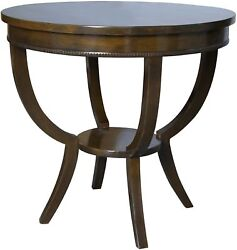 30 Round Set Of Two Side Table Night Stand Solid Birch Wood Distressed Brown