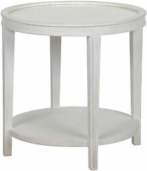 26 Round Set Of Two Side End Table Solid White Mahogany Wood Antique Mirror Top