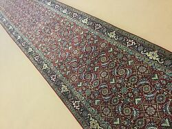 2and039.7 X 19and039.6 Red Super Herati Oriental Rug Long Runner Hand Knotted