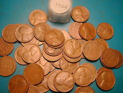 1932-p Lincoln Wheat Cent Penny Roll, 50 Coins