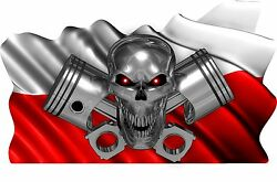 2-set Polish Flag Skull Piston Boat Car Motorcycle Truck Stickers Decals Wrap