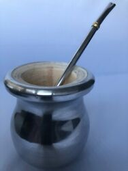 Authentic Hand Made Mate Cup With Metal Straw Straight From Argentina