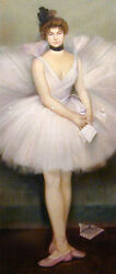 Oil Paintig Portrait Young Girl Wearing Ballet Skirt Holding Letter Hand Painted