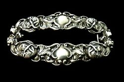 T Foree Hunsicker Four Muses And Flowers - Belt Buckle - Sterling - Vintage