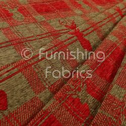 New Soft Like Cotton Small Stag Pattern Upholstery Woven Fabric Red Brown Colour