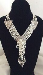 Vintage Native American Pearl And Heishi Necklace. Hand Made Silver Mounts.