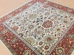 7'.10 X 8'.0 Beige Rust Oriental Rug Square Hand Knotted Wool