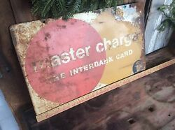 Vintage Double Sided Hanging Master Charge Sign, Shabby Advertising, Metal 16x26