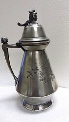 Antique Pat Oct 24 1865 Silverplate Syrup Pitcher Georgian Engraved Ladies Head