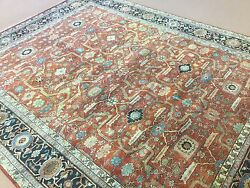 9and039.1 X 11and039.10 Rust Navy Blue Very Fine Geometric Oriental Rug Hand Knotted