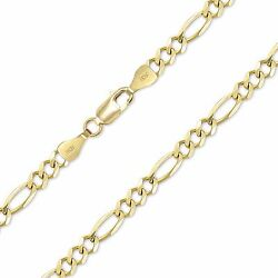 10k Solid Yellow Gold Figaro Necklace Chain 9mm 20-30 - Polished Link Men Women