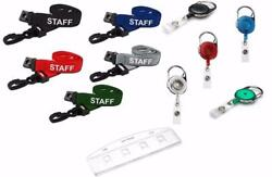 Staff Lanyard Neck Strap With Retractable Reel And Swipe Card Pass Holder Freepost