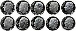 1980-1989 S Complete Set Roosevelt Dimes Gem Proof Run 10 Coins Us Mint 1980and039s