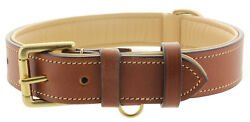 Soft Leather Padded Dog Collar Eco Friendly Made From Premium Tan Buffalo Hide $19.95