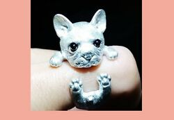 925 Sterling Silver French Bulldog Ring Jewelry Animal Puppy Adjustable Rare