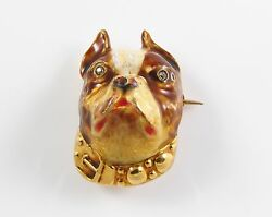 14K Gold Art Nouveau Enamel Diamond Boston Bull Terrier Dog Brooch Watch Pin