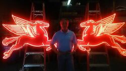 New Pegasus Flying Horse Neon Sign 6 Foot Left or Right Facing Mobil Oil Horse