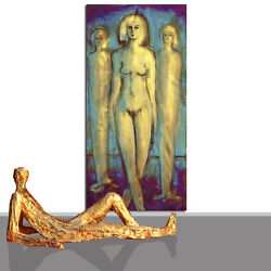 Painting Large Abstract Original Art Golden Lifesize Nude Blue Gold 78 X 40