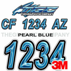 Pearl Blue Custom Boat Registration Numbers Decals Vinyl Lettering Stickers Uscg