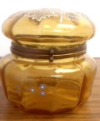 Antique Beautiful Hand Painted White Blue And Gold Amber Glass Hinged Dresser Jar