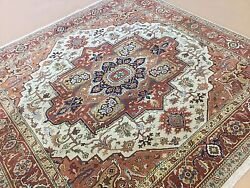 7'.10 X 8'.0 Beige Rust Sarape Oriental Rug Square Hand Knotted Wool