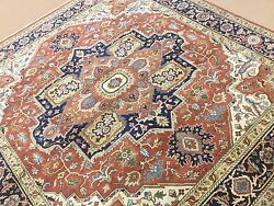 8and039.0 X 8and039.0 Rust Sarape Oriental Area Rug Square Hand Knotted Wool