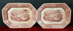 Couple Of Trays. Porcelain. W. Adams And Sons. England. Xix Century.