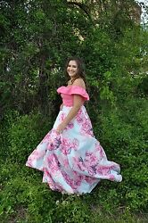 Prom Dress. Floral. 2 Piece. Size 12. Pink. Womenand039s. Pretty. Cute. Pockets.