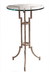 Tables - Chancery Lane Round Glass Top Side Table - Antique Silver Finish