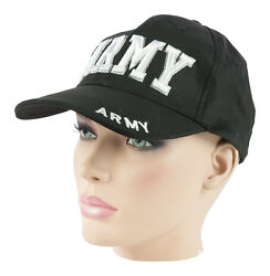 Army Us Cap Hat Baseball Bb with Embroidery Bw Cotton Black