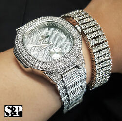 Menand039s Hip Hop White Gold Pt Luxury Watch And Lab Diamonds Bracelet Combo Gift Set