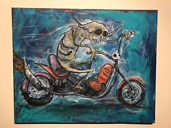 Gus Fink Art Original Painting Outsider Lowbrow Abstract Motorcycle Demon Lord