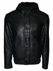 Kenneth Cole Reaction Men's Zip Front Hooded Faux Leather Jacket Black