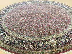 7'.11 X 7'.11 Round Red Navy Fine Geometric Oriental Area Rug Hand Knotted