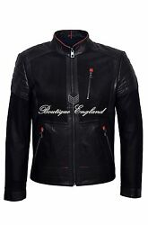 Menand039s Black Classic Moto Biker Goat Suede And Lamb Leather Quilted Jacket 1720